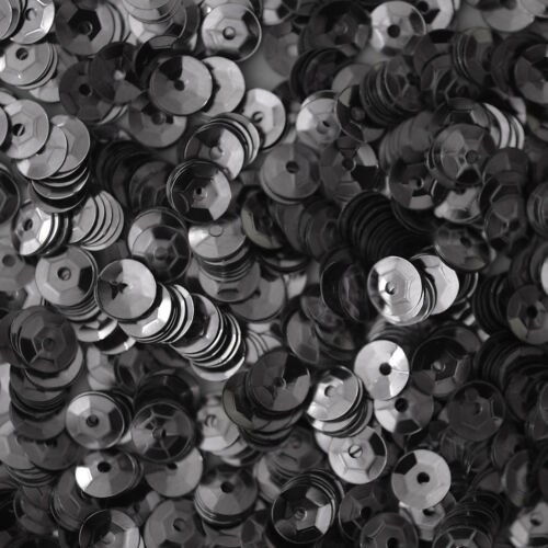5mm Cup SEQUIN FACET PAILLETTES ~ Premium HEMATITE Gray Metallic ~ Made in USA