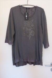 NO-SECRET-Feinstrick-Pullover-Shirt-Damen-Gr-46-NEU-grau-mit-Strass-LAGENLOOK