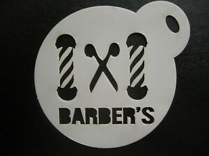 Details about Laser cut 60mm barber's design cake, cookie,craft & face  painting stencil