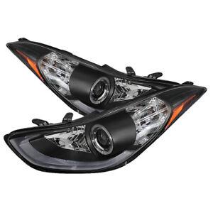 Fit-Hyundai-11-13-Elantra-Black-DRL-LED-Bar-Halo-Projector-Headlights-Lamps