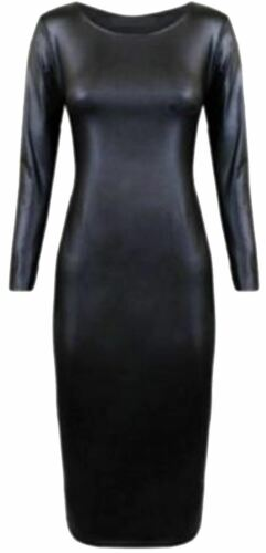 New Womens Shinny Wetlook Plus Size Skater Tops Dress 16-26
