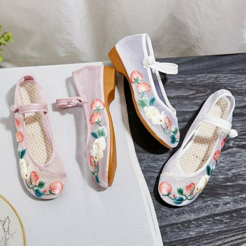 Details about  /Women retro Chinese Non-slip Low-heel Mary Jane Comfort Mesh Breathable Shoes