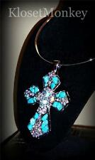 SEXY SILVER TURQUOISE STONE & CRYSTAL CROSS LARGE PENDANT METAL FESTIVAL CHOKER