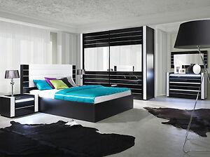Hochglanz Schlafzimmer komplett LINN Bett, Kleiderschrank 250 cm ...