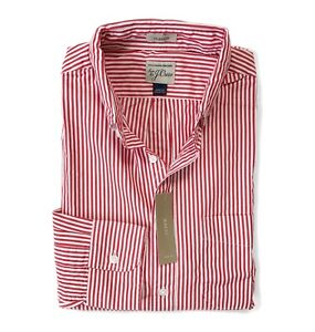 J.Crew Khaki//Blue Striped Secret Wash Shirt NWT$59 Men/'s XL Classic Fit