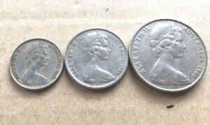 1966-Australian-20-Cent-10-Cent-5-Cent-Coin-Set-Of-3-RARE-FREE-Post