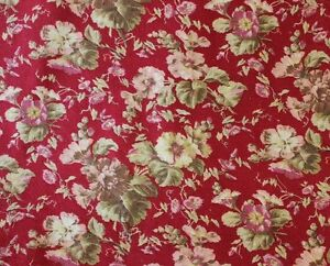 """Rapture French 19th Century Home Cretonne Floral Fabric~30""""l X 25""""w~upholstery,pillows Agreeable Sweetness Linens & Textiles (pre-1930)"""