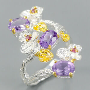 Unique-Set-Natural-Amethyst-925-Sterling-Silver-Ring-Size-8-5-R102830