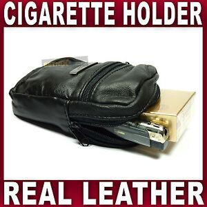Soft-Black-Leather-cigarette-case-amp-lighter-holder-pouch-smooking-tobacco-fag