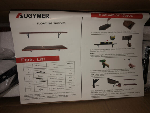 "Augymer Floating Shelves Brown Wood (2 Shelves) 23"" New -Open Box"