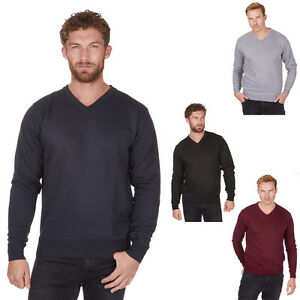 Mens-Pierre-Roche-Knitted-V-neck-Jumper-Black-Navy-Grey-Burgundy