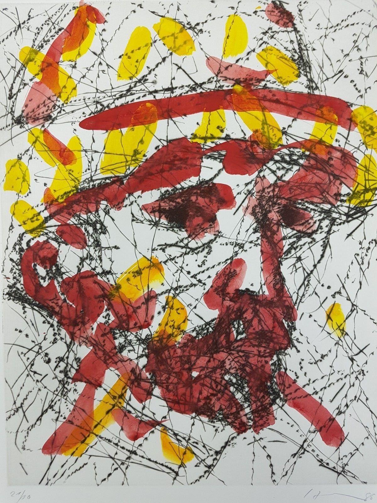 Friedemann Hahn, Kopf nach van Gogh, Aquarell 1985. Signiert, datiert nummeriert