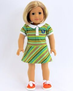 Striped-Dress-with-Tennis-Shoes-Fits-American-Girl-Dolls-18-034-Doll-Clothes