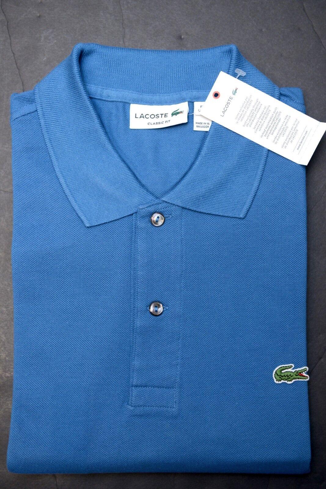 Lacoste L1212 Uomo Piqué Taglio Classico Ufficiale Blu Maglietta Polo di Cotone