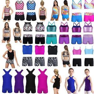 Girls Kids Dance Sport Outfits Racer Top Booty Short Gymnastics Dancing Clothes