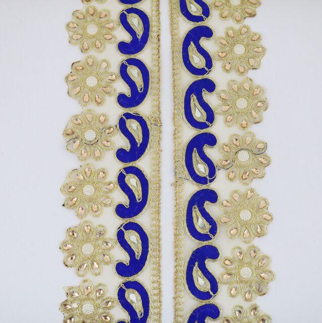 da7647b4ea6c 9 Metre Golden Indian Lace Trim Zari Border Paisley Wedding Saree Lace  Dupatta