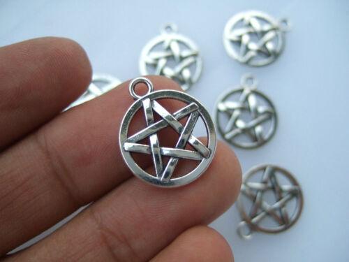 20Pcs Antique Silver Pentagram Pentacle 16mm Charms Pendants Beads Wiccan Pagan