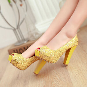 Bling-Women-Stilettos-shoes-Sequins-Open-toe-Elegant-Thick-heel-Wedding-shoes