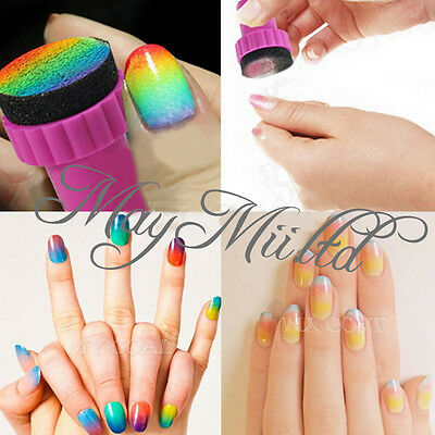 Magic Nail Art Sponge Stamp Stamping Polish Template Transfer Manicure DIY Tools