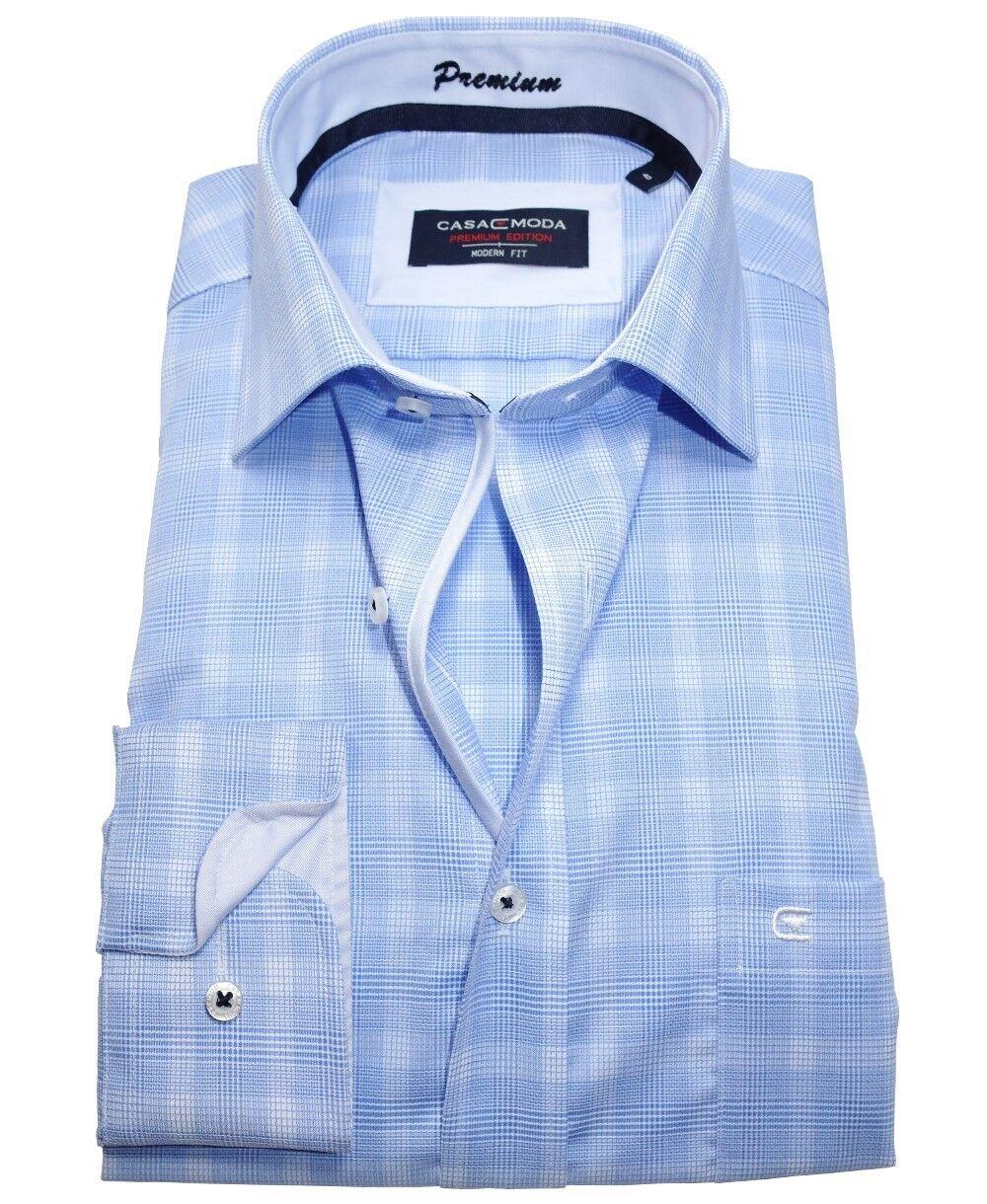 Casa Moda Modern Fit Premium Langarmhemd hellblue Strukturkaro Gr. 39 bis 48