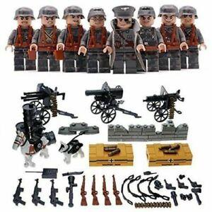 8pcs-set-DE-Militaer-Soldaten-mit-Waffen-Bausteine-Bricks-WW2-Mini-Armee-Figuren