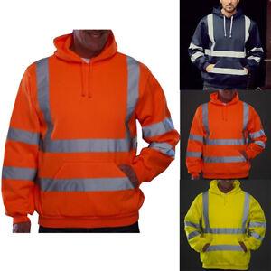 Hi-Vis-Men-Waterproof-Hoodie-Up-Sweatshirt-Vis-Visibility-Work-Coat-Jacket