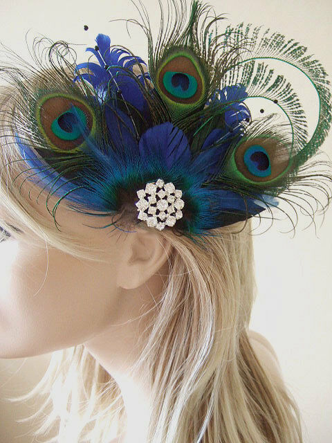 Bridal Peacock Feather Cluster Crystal Brooch Blue Green Clip Fascinator MNB110