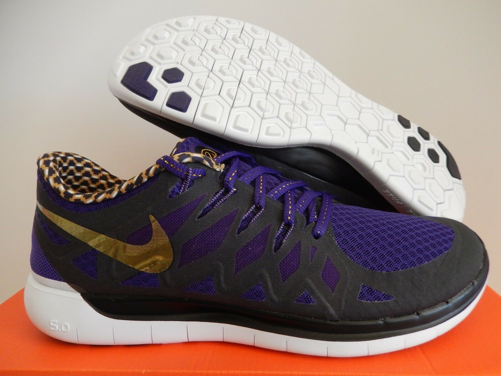 NIKE FREE 5.0 DB COURT PURPLE-METALLIC GOLD-BLACK SZ 10 [725566-580]