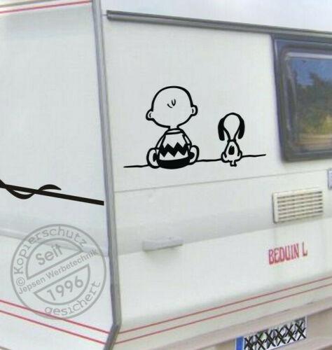 Auto Camper Bus Roulotte ADESIVI Snoopy Charly 50x30cm s086 colore