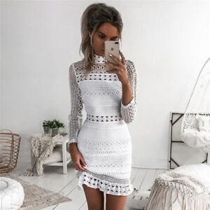 AU-Women-Bandage-Bodycon-Long-Sleeve-Evening-Party-Cocktail-Lace-Short-Dress