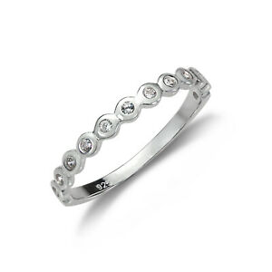 925-Sterling-Silver-Half-Eternity-with-CZ-Crystal-Dots-Ring-UK-Size-I-W