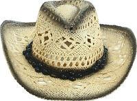 Men's Comfortable Natural Straw Cowboy Hat Wide Brim A Black Ribbon