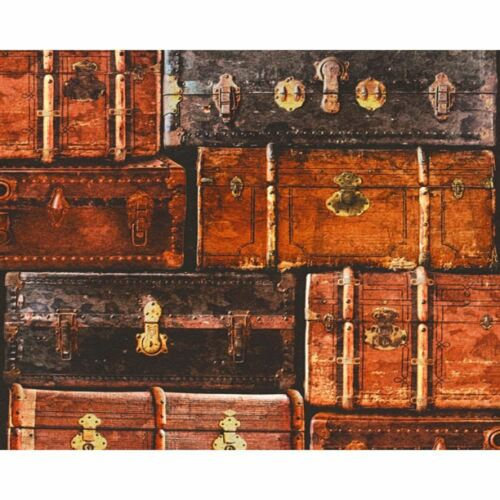 AS Creation Vintage Luggage Pattern Wallpaper Retro Suitcase Faux Effect Texture