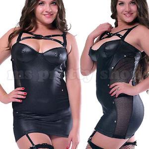 Plus-Size-Black-Faux-Leather-Wet-Look-Suspenders-Studded-Bustier-Mini-Dress