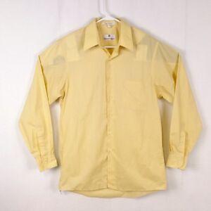 Etienne-Aigner-Mens-sz-M-15-5-34-35-Yellow-Button-Down-Career-Dress-Shirt