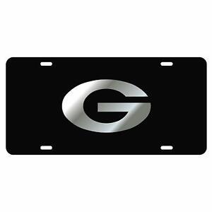 Georgia Bulldogs License Plate Tag Black Background Silver G Logo Ebay