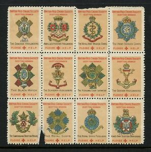 GB WW1 CHARITY FUND BRITISH RED CROSS REGIMENTAL LABELS BLOCK of 12 with FAULTS