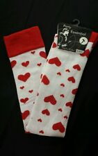 WHITE OVER THE KNEE SOCKS WITH RED HEARTS  HOLD UPS FANCY DRESS QUEEN OF HEARTS