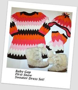 19c455d47 BABY GAP Zig Zag Sweater Dress Hat Leg warmers Set Girl Size 4 ...
