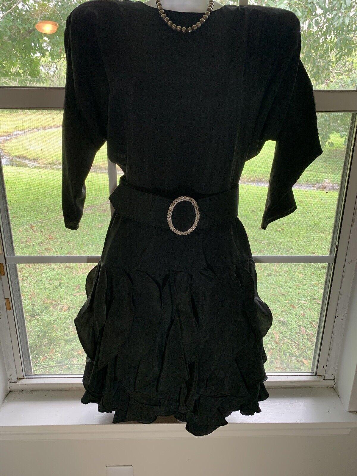 1980's Sexy Little Black Dress Rhinestone BELT RU… - image 1