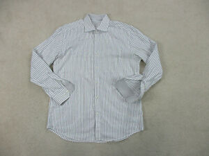 Bugatchi Uomo Button Up Shirt Adult Large White Gray Striped Casual Mens B97