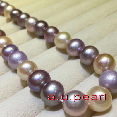 "ROUND AAAAA 17/""10-11MM REAL natural south sea pink lavender pearl necklace 14K"