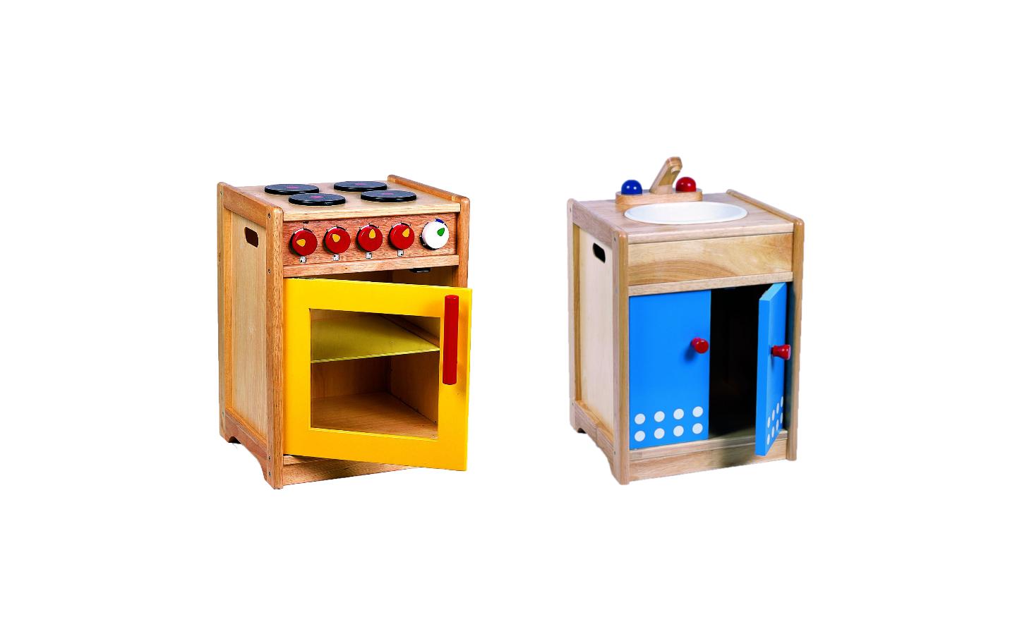 Spüle aus Holz + Herd aus Holz Kinderküchenzubehör