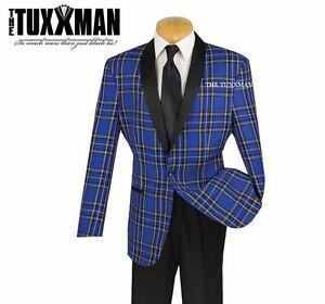 494a25db924 New Mens Blue Christmas Plaid Tuxedo Dinner Jacket Holiday Party Set ...