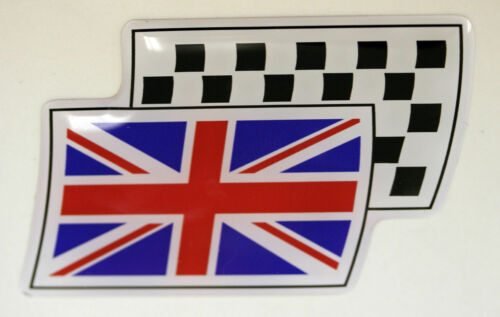 Union Jack Flag Resin Domed Chequered Decal Gel Sticker #Design 2
