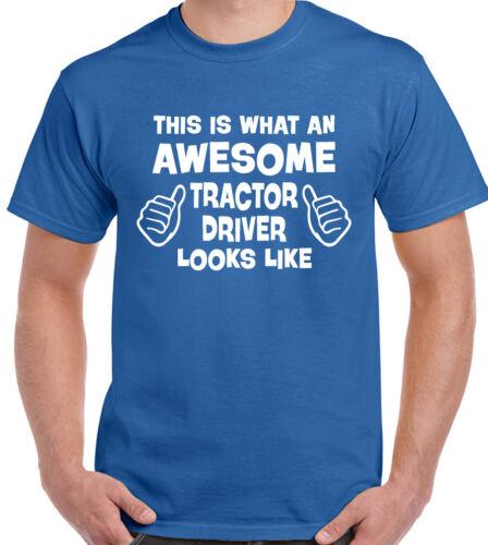 Awesome Tractor Driver Mens Funny Farmer T-Shirt Farm Farming 3XL Only