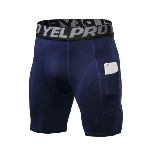 Men/'s Compression Pantalon Athletic Running Training Gym Shorts Avec Poche Bottoms