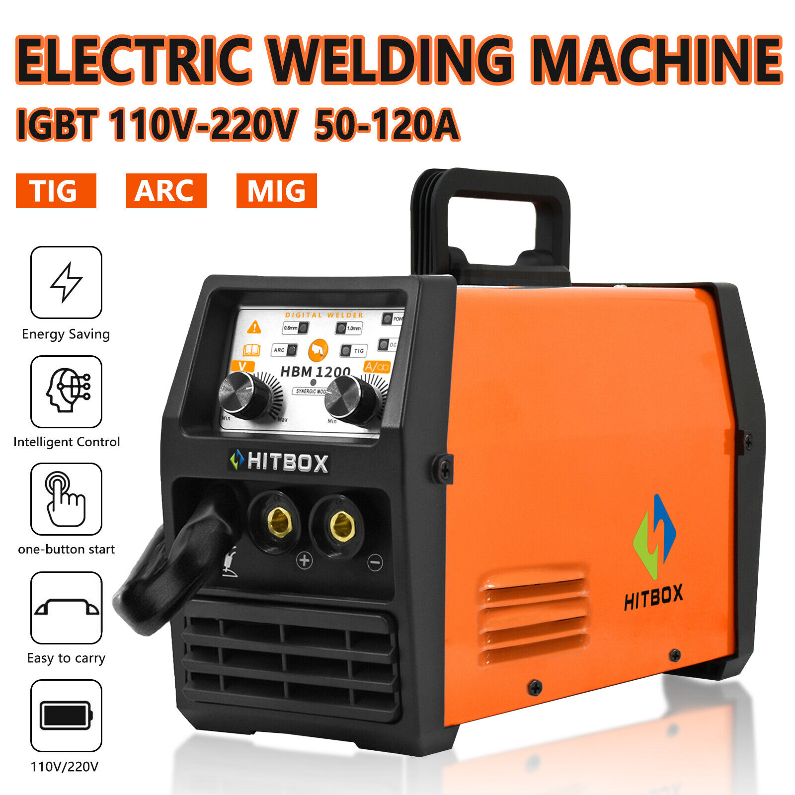 HITBOX 110V/220V MIG Welder MMA Lift TIG ARC 3in1 Wire Welding Machine Gasless. Available Now for 179.99