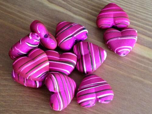 10x caoutchouté satin acrylique perles-banc coeurs 23x20mm