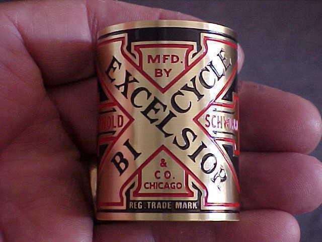 Excelsior Bike Badge Emblem 1920s design Acid Etched Brass